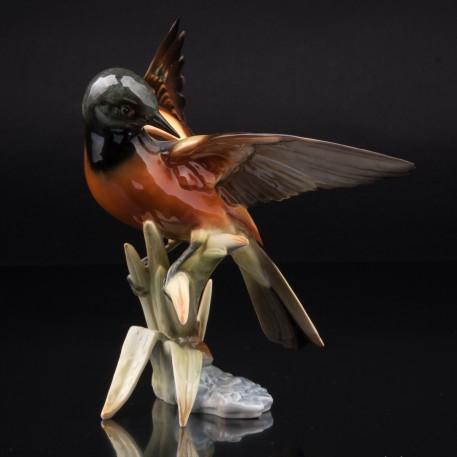 Фарфоровая фигурка птицы Горихвостка в камышах, Hutschenreuther, Германия, 1970 гг.