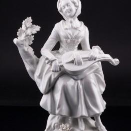 Фарфорвая статуэтка Девушка с колесной лирой, Дрезден, Германия,, пер. пол. 20 в.