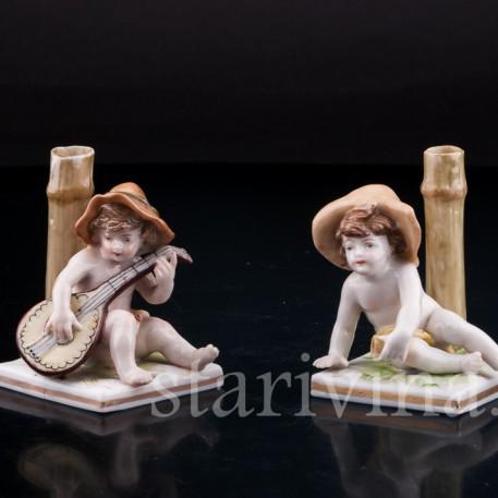 Статуэтка детей из фарфора Два путти, Ernst Bohne Sohne, Германия, нач. 20 в.
