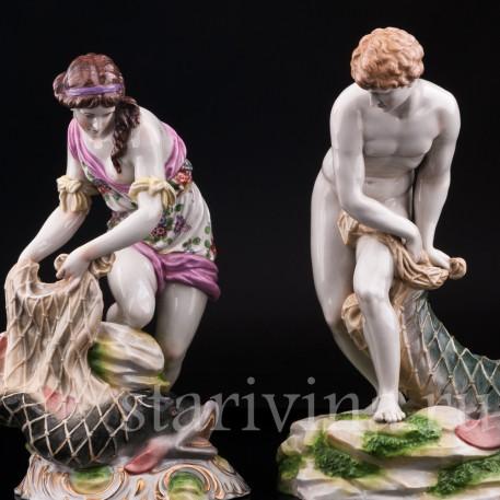 Парные фарфорвые статуэтки Рыбаки, Dressel, Kister & Cie, Германия, кон. 19 в., нач. 20 в..