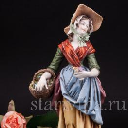 Фарфоровая статуэтка девушки Цветочница, Германия,, кон. 19 - нач. 20 вв.