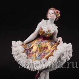 Статуэтка из фарфора Балерина, кружевная, Volkstedt, Германия, до 1935 г.