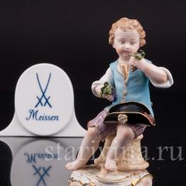 Фарфоровая статуэтка Мальчик с виноградом, Meissen, Германия, сер. 19 - нач. 20 вв.